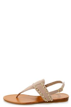 Bamboo Steno 62 Nude Studded Thong Sandals