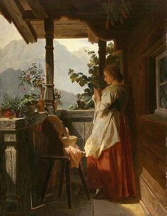 """""""Strickendes Landmadchen"""", Ludwig Vollmar"""