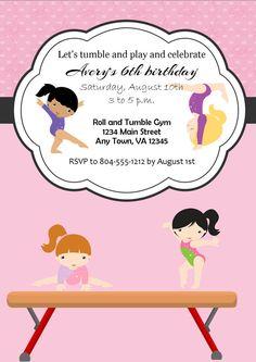 Custom Gymnastics Party Birthday Invitation by LBKInvites on Etsy, $12.00