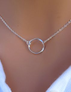 Eternity Circle Necklace in STERLING SILVER. This gorgeous and classy necklace is made out of twisted O-ring and sterling silver chain. It
