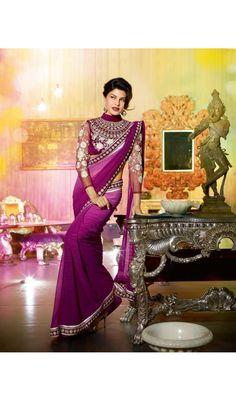 Purple Elina Dazzling Star Jacqueline Fernandez Woven Nikon Designer Sarees
