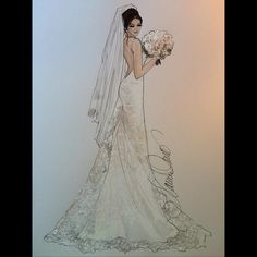 """440 Likes, 3 Comments - Karen Orr (@karenorrillustration) on Instagram: """"A look back at this ️gorgeous Amy Taylor Bridal @amytaylorcollection #beautifulbride #revisit…"""""""