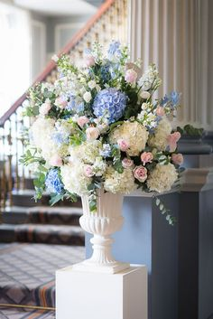 Wedding and Floral Event Styling from Planet Flowers Pink Hydrangea Wedding, Blush Wedding Flowers, Wedding Bouquets, Bridesmaid Bouquets, Purple Wedding, Blue Flower Arrangements, Blue Flowers Bouquet, Hydrangea Wedding Arrangements, Floral Flowers