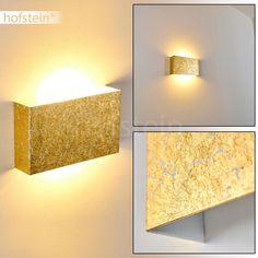 Eckige Wandleuchte CROTONE aus Metall gold - Zimmerlampe für Wohnzimmer - Schlafzimmer - Flur - Ein- und Ausschalter an der Unterseite: Amazon.de: Beleuchtung