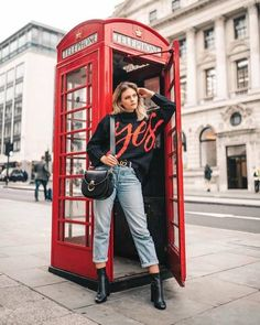 Say yes to the knitwear of winter dreams as seen on London Telephone Booth, London Phone Booth, Girl Photo Poses, Girl Photos, London Photography, Photography Poses, Photoshoot London, London Instagram, Pose Reference Photo