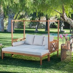 Outdoor Patio Daybed With Ottoman 2 Piece Wooden Lounge ... on Belham Living Brighton Outdoor Daybed id=66220