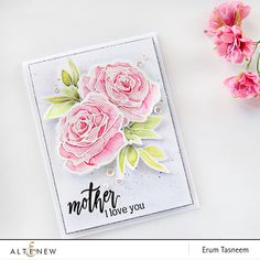 handmade Mother's Day card featuring the Altenew Penned Rose stamp set watercoloured by Erum Tasneem. Card Making Kits, Making Ideas, Altenew Cards, Mothers Day Cards, Happy Mothers, Watercolor Cards, Watercolour, Card Making Inspiration, Creative Cards