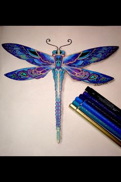 Beautiful ink drawing dragonfly. Libélula
