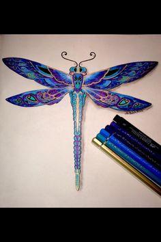 Beautiful ink drawing dragonfly. Libélula
