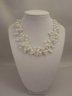 Engagement & Wedding Illusion Floating Necklace With 6mm Cream Glass Pearls 100% High Quality Materials Bridal & Wedding Party Jewelry