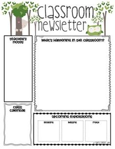Classroom Newsletter Templates. This would be a great printout for teachers who send home weekly updates.