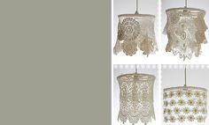 lampshades made of lace this would be nice in colors in the dressing room with the painted vanity