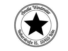 Schöner, schlichter Adressstempel mit ausgefülltem Stern und Adresse.  Der Stempel hat einen Durchmesser von 40 mm, einen gestrichelten Rand und einen Wellenrand.   Auch in anderen Größen auf... Symbols, Peace, Stars, Nice Asses, Sobriety, Glyphs, World, Icons