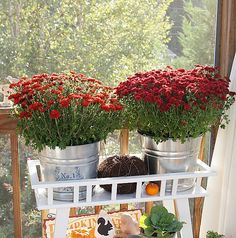 mums in galvanized buckets from Home Depot on top.  One which I added a transfer to