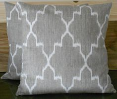Modern grey moroccan ikat decorative pillow by pillowflightpdx, $28.00