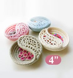"CROCHET PATTERN - 4"" yin yang jewelry dish, Crochet basket photo tutorial. Color of the year. Valentines day gift ideas for her."