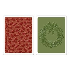 Sizzix texture fades embossing folder 2 pk Holly pattern & wreath set by Tim Holtz