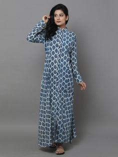 Blue Cotton Dabu Dress