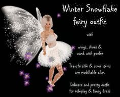 Winter White Snowflake fairy faerie & wand with poofers