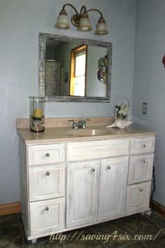 Image On Annie Sloan Chalk Paint Vanity Before and After