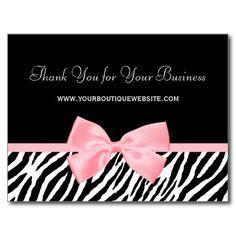 Chic Zebra Print Thank You Light True Pink Ribbon Post Card http://www.zazzle.com/chic_zebra_print_thank_you_light_true_pink_ribbon_postcard-239303759010687723?rf=238835258815790439