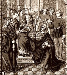 Frédégonde donnant l'ordre d'assassiner Sigebert, roi d'Austrasie. Vitrail de la cathedrale de Tournai, XVe siècle.- FREDEGONDE. 2)BIOGRAPHIE. 2.2 LA FAIDE ROYALE JUSQU'EN 584, 5: Chilpéric s'empare de Paris; le successeur de Sigebert, Childebert II, lui échappe, mais Brunehaut est faite prisonnière et emmenée à Rouen, dont l'évêque est Prétextat.