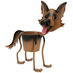 Superb German Shepherd Mini Bobblehead Metal Dog Planter Stand
