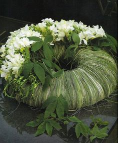 Grass and white flower wreath