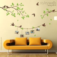 Photo Frames and Branch Wall Decal, Branch with Birds Picture Photo Frames Wall Decal, Photo Frames Wall Decal Nature Sticker Home Decor Vinyl Frames, Frames On Wall, Framed Wall Art, Bird Pictures, Pictures To Paint, Home Wall Painting, Bird Wall Decals, Paint Designs, Wall Design