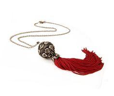 Red Long Tassel Necklace Ethinc Pendant by sunnybeadsbythesea