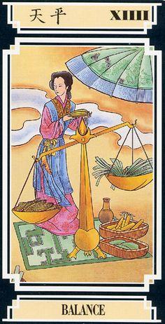 Las Revelaciones del Tarot: El Balance - Tarot Chino o del Dragon Dorado - Num. Tarot Card Decks, Tarot Cards, Temperance Tarot, Online Tarot, Tarot Learning, Tarot Spreads, Fortune Telling, Major Arcana, Oracle Cards