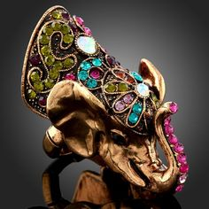 Adjustable elephant ring with multicolored Swarovski crystals by Arinna