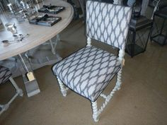 Paris Grey with an original dry brush. A modern geo fabric to bring it back to life Chalk Paint Techniques, Paris Grey, Dry Brushing, Barcelona Chair, Geo, Renaissance, Dining Chairs, Fabrics, The Originals