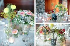 looks like chalkboard paint on the vases? not a bad idea for numbering tables