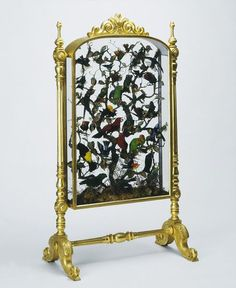 This is so very Victorian in design. This Firescreen rests on trestle supports with turned and gilded uprights. The frame is panel glazed and set with stuffed birds. This unusual, yet handsome, piece comes from Great Britain and was made Victorian Furniture, Antique Furniture, Birds For Sale, Charred Wood, Fireplace Screens, Glass Domes, Belle Epoque, Victorian Era, Art Decor