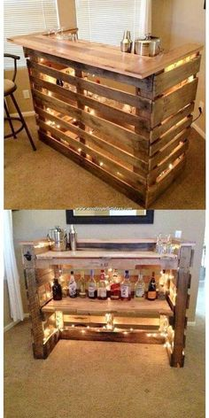 Excellent DIY wooden pallets to reuse the ideas .- Ausgezeichnete DIY-Holzpaletten die Ideen wiederverwenden – Wood Design Excellent DIY wooden pallets to reuse the ideas - Pallet Counter, Wooden Pallet Table, Wood Pallet Furniture, Wooden Diy, Furniture Projects, Modern Furniture, Diy Pallet Bar, Furniture Plans, Palette Furniture