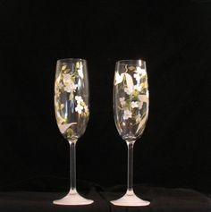 Hand Painted Wedding Doves Toasting Flutes  Set of 2  by Artbykris, $85.00