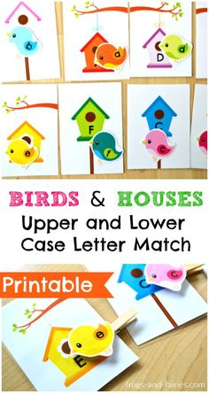 Birds and Houses Upper and Lower Case Letter Match Looking for a fun and hands-on way to teach upper and lower case letters? Then this is a fun activity to help your little ones learn! Preschool Learning Activities, Spring Activities, Alphabet Activities, Fun Learning, Toddler Activities, Preschool Activities, Teaching Kids, Letter Matching, Tot School