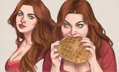 """drawingllamas: """"let Nina Zenik eat waffles in peace """" Let us all eat waffles in solidarity."""