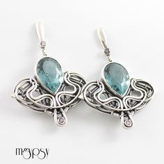 Iridaceae - Sterling Silver, Quartz & Amethyst Handmade Wire Wrapped Earrings
