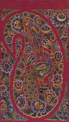 One of two textile samples of madder Turkey red dyed and printed cotton mounted on card. Hand block printed design of a multicoloured parrot and peacock within a paisley motif surrounded by a floral border. Part of the Turkey Red Collection, Textiles, Textile Patterns, Textile Prints, Textile Design, Textile Art, Print Patterns, Paisley Design, Paisley Pattern, Paisley Print