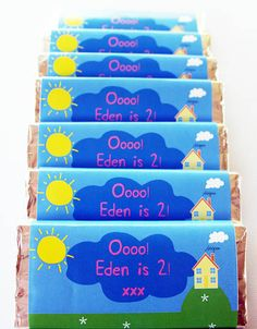 12 Peppa Pig Inspired Chocolate Bar Wrappers on Etsy, $24.00 AUD