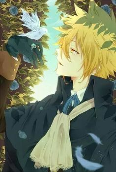 Anime guy. .blonde. .golden eyes. .bird..ring.