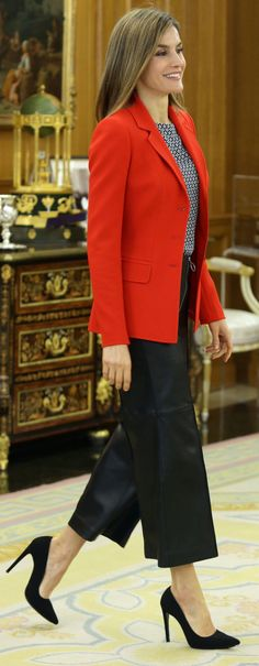 Queen Letizia of Spain attends several audiences at Zarzuela Palace on April 13 2016 in Madrid Spain
