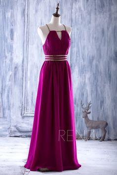 2016 Magenta Bridesmaid dress Gold Belt Long Chiffon by RenzRags