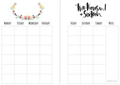 Free Monthly A5 planner Insert printables - download from my Blog