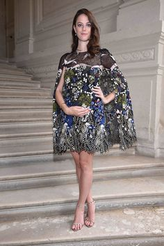 Kaya Scodelario wearing a Valentino dress from the Spring 2016 Collection to the Valentino Men's Spring/Summer 2017 fashion show on June 22nd 2016.