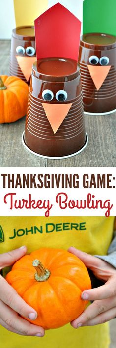 Entertain the kids while you're in the kitchen with a fun and easy Thanksgiving Game: Turkey Bowling!