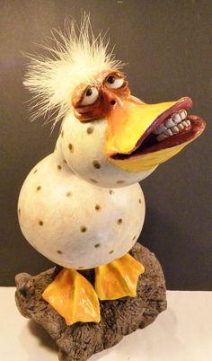 Art: Vreemde Vogels ~Pin via Dromenvangers-Winkeltje: Jenn Norpchen~ Paper Mache Clay, Paper Mache Crafts, Hand Painted Gourds, Clay Birds, Chicken Art, Clay Figures, Paperclay, Gourd Art, Funny Art