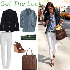 Navy blazer chambray shirt white skinnies brown belt and wedges Embroider air show stuff on denim shirt and where with white tennis shoes. Light weight blazer under a beautiful P coat that will keep you warm in the am